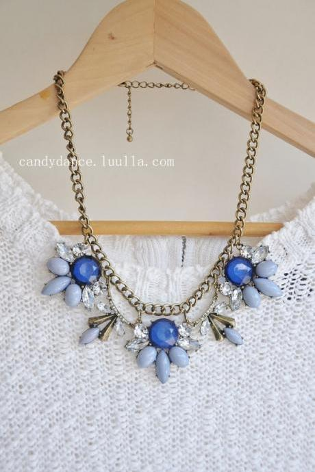 Blue Jewel Crystal Statement Necklace