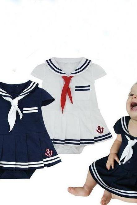 Sailor Navy outfit 9-12 Months Girls-Props for Infant Girls Navy Blue Dress
