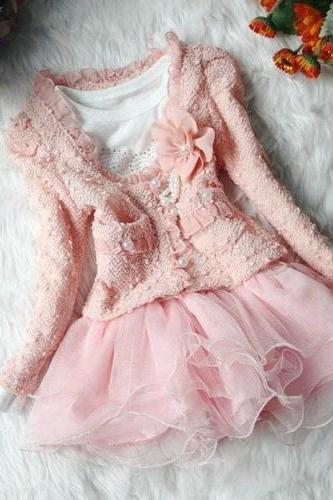 READY FOR SHIPPING! Pink Dress for Girls-Pearl Pink Dress-Birthday Girl Pink Ones Piece Pearl Tutu Dress