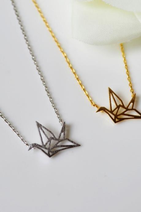 Crane Necklace,Origami crane necklace,paper crane