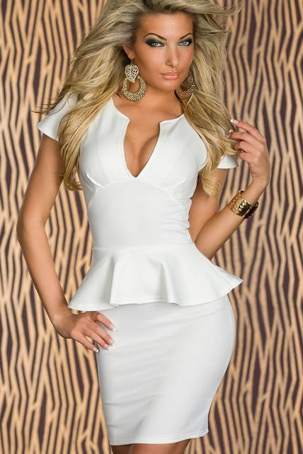 Sexy White Peplum Dress