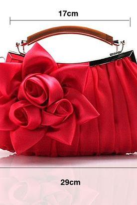 Red Shoulder Bag Clutch for Bridesmaids Evening Purses