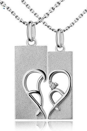 Half Heart Necklace for Couples with Names Set of 2