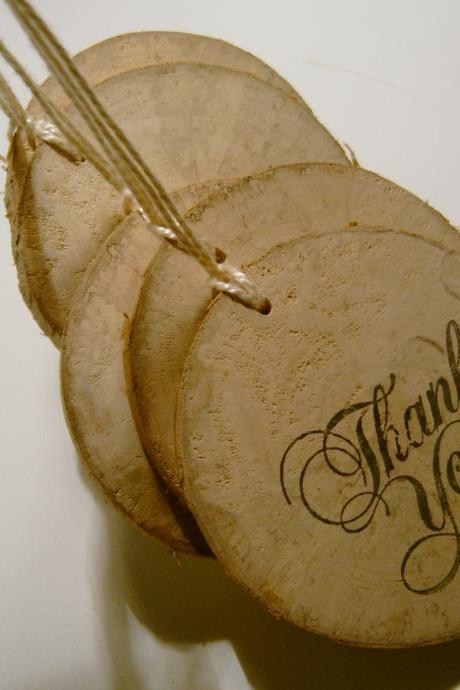 Rustic Wooden Thank You Hang Tags from branch slices