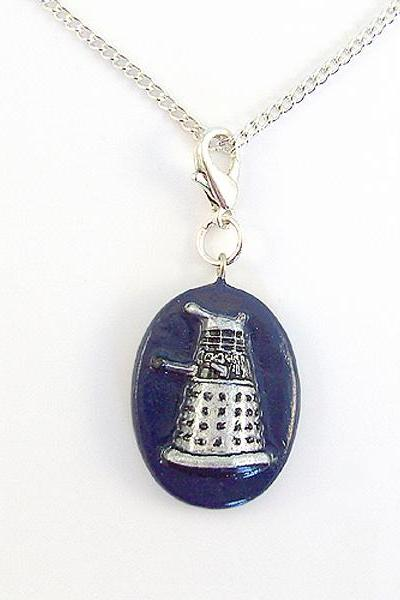 Dalek Charm with Silver Chain Necklace