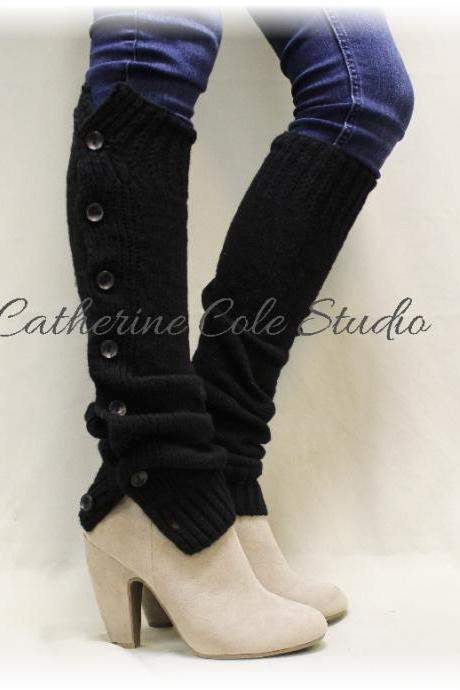 HEAVENLY Black Noir Leg warmers boot button down leg warmers legwarmers lace leg warmers womens knit leggings Catherine Cole Studio LW07