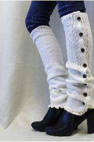 BLISS Button down cream Leg warmers boot button down leg warmers legwarmers lace leg warmers womens knit leggings Catherine Cole Studio LW14
