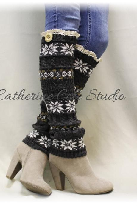 SCANDINAVIAN SNOWFLAKE grey knit snowflake womens legwarmers wood button for boots leggings snowflake leg warmers Catherine Cole Studio LW6
