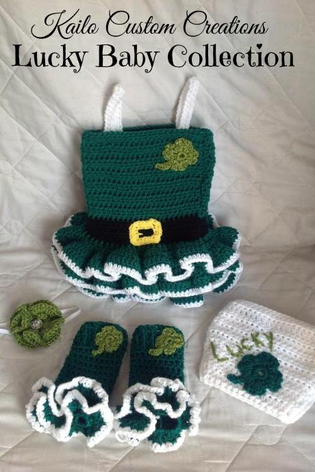 READY TO SHIP 0-3 Months 4-piece set, St. Patrick's Day Dress headband diaper cover leg warmers