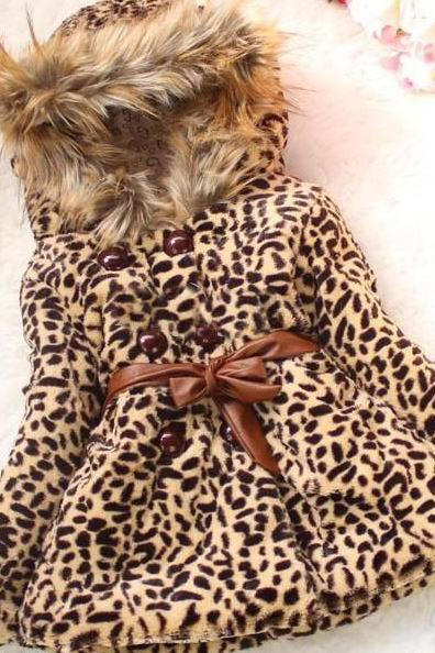 FREE SHIPPING Leopard Faux Fur Jacket for Girls-Leopard jacket for Girls with Hood