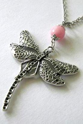 Silver dragonfly necklace pink jade jewelry - Long necklace