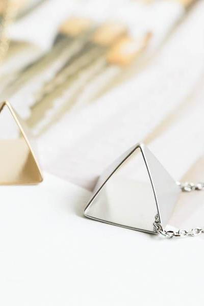 Open pyramid triangle necklace,triangle necklace,triangle jewelry ,gift ideas,valentines day,geometric,PYRAMID,TRIANGLE,open pyramid,N310K