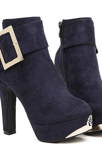 Royal Blue Metal Decoration Chunky Heel Ankle Boots