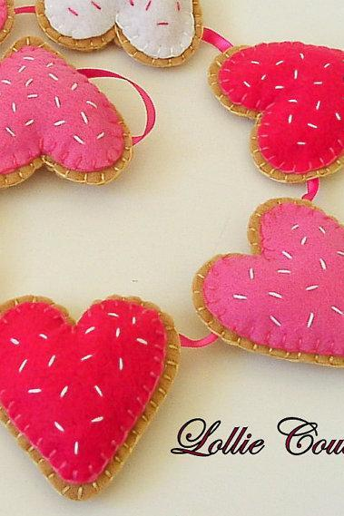 Heart sugar cookie Garland, Nursery, Little Girls, Party decor, garland