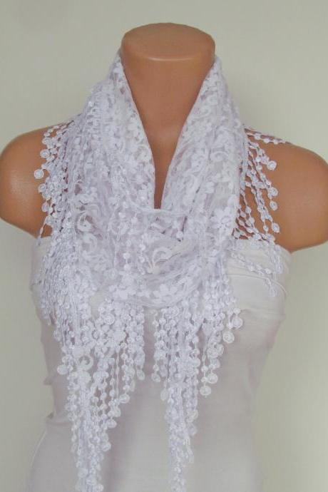 White Lace Scarf With Fringe New Season Scarf-Headband-Necklace- Infinity Scarf- Accessory-Long Scarf-Fall Fashion