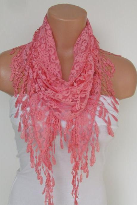 Salmon Lace Scarf With Fringe-Fall Fashion Scarf-Headband-Necklace- Infinity Scarf-New Season Accessory-Long Scarf