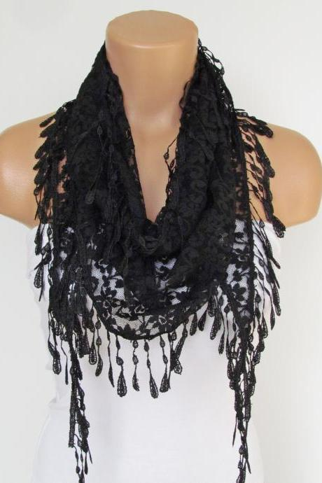 Black Lace Scarf With Fringe-Fall Fashion Scarf-Headband-Necklace- Infinity Scarf-New Season Accessory-Long Scarf