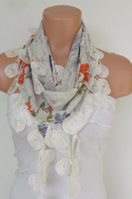 White Floral Lace Scarf With Fringe-Fall Fashion Scarf-Headband-Necklace- Infinity Scarf-New Season Accessory-Long Scarf