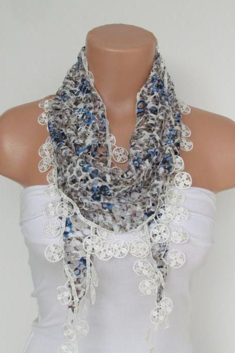 Leopard Patterned Blue White Lace Scarf With Fringe-Fall Fashion Scarf-Headband-Necklace- Infinity Scarf-New Season Accessory-Long Scarf