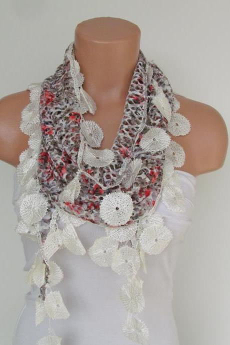 Leopard Patterned Red White Lace Scarf With Fringe-Fall Fashion Scarf-Headband-Necklace- Infinity Scarf-New Season Accessory-Long Scarf