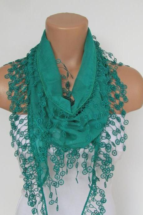 Long Scarf With Fringe-New Season Scarf-Headband-Necklace- Infinity Scarf- Spring Accessory-Green Scarf-New Season-Gift
