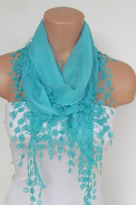 Long Scarf With Fringe-New Season Scarf-Headband-Necklace- Infinity Scarf- Spring Accessory-Mint Blue Scarf-New Season-Gift