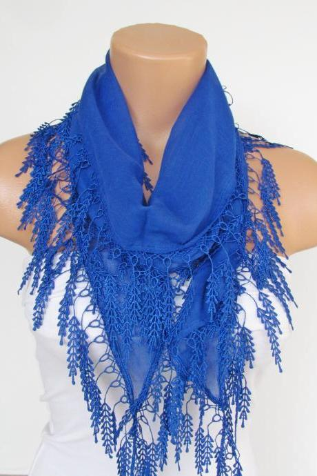 Long Scarf With Fringe-New Season Scarf-Headband-Necklace- Infinity Scarf- Spring Accessory-Navy Blue Scarf-New Season-Gift