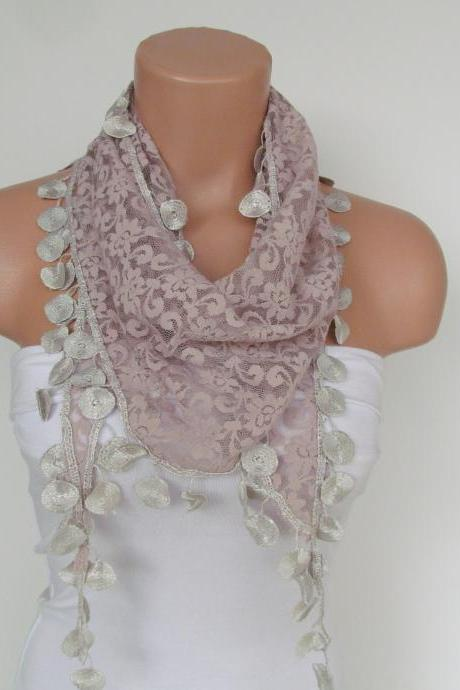 Beige Lace Scarf With Fringe-Fall Fashion Scarf-Headband-Necklace- Infinity Scarf-New Season Accessory-Long Scarf