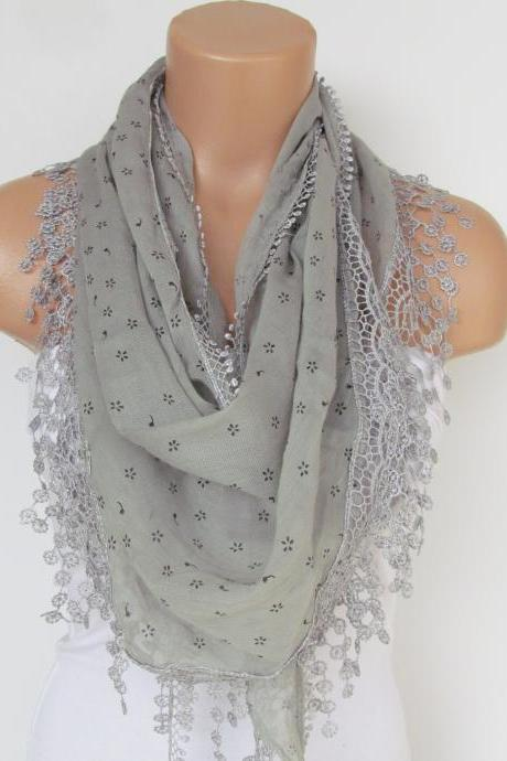 Gray Scarf with fringe -Triangle Shawl Scarf-New Season-Necklace-Lariat- Neckwarmer- Infinity Scarf--Gift For Her