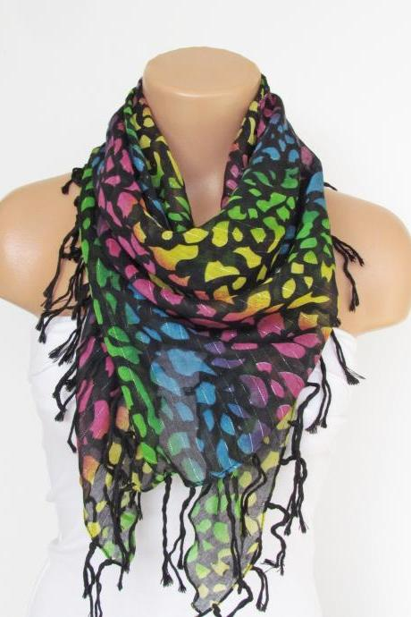 Black Colorful Scarf with fringe -Triangle Shawl Scarf-Fall Fashion-Necklace-Cotton Scarf- Neckwarmer- Infinity Scarf-Gift