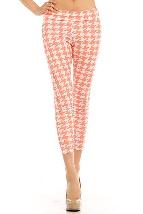 Coral Houndstooth Capri Leggings