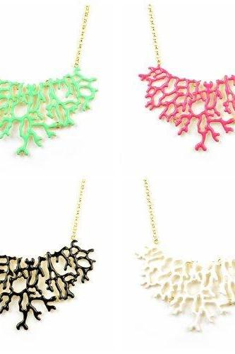 New arrival !!! Hot sale New design Coral design bib statement summer necklace jewelry,4colors NL-2071