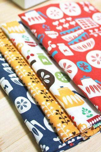 Scandinavian Retro Vintage Kitchen Design Panel Fabric (4 Designs Package)