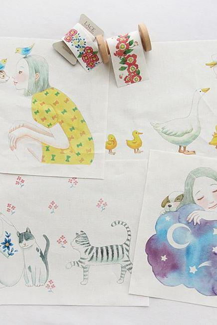 Illustration Panel Fabric 'Happy Life with You' (4 Designs Package)
