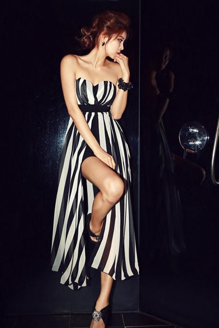 Fashion New Long Style Black and White Striped Tube Dress