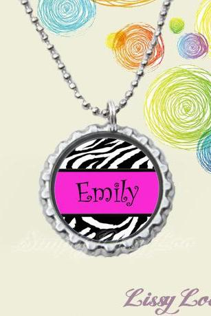 Personalized Zebra and Pink Bottle cap necklace