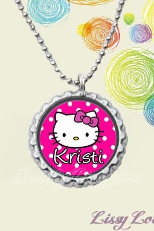 Hello Kitty Personalized Bottle Cap Necklace
