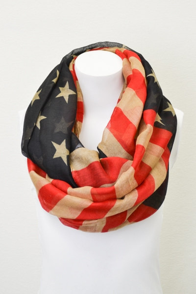 Vintage American Flag Infinity Scarf Patriotic July 4th Scarves Red White and Blue Infinity Flag Scarf Wear Infinity Scarves