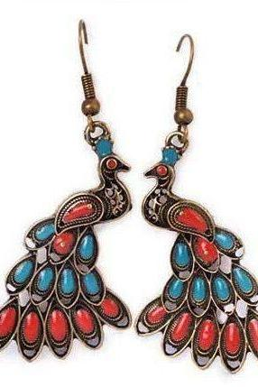 *Free Shipping* Colorful Bohemian Peacock Earrings