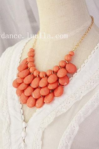 Teardrop Statement Bib Necklace Coral Blush Pink Free Earrings