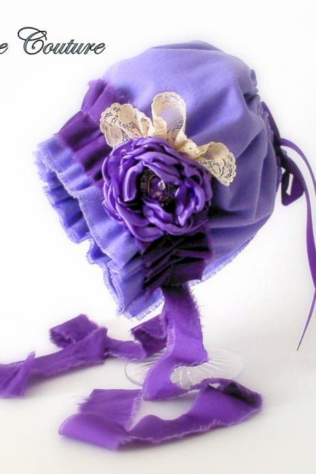 Purple baby bonnet, newborn Photo prop, baby hat, baby shower ideas