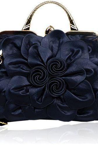 Black Big Flower Leather Handbag Fashion