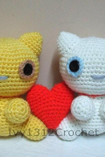 "Couple Cat 7.48"" - Finished Handmade Amigurumi Crochet Doll Home Decor Birthday Gift Baby Shower Toy"