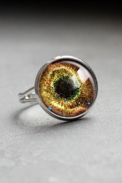 Galaxy Ring.Glass Ring.Galaxy Space Jewelry.yellow Ring.adjustable ring.glass jewelry,space style.universe jewelry.Photo Ring handmade (RR12)
