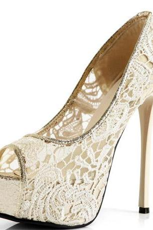 Elegant Lace Design Peep Toe Apricot Colored High Heel Pumps