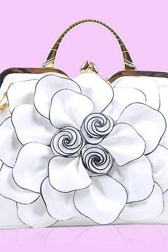 WHITE Big Flower Leather Handbag Fashion- Wedding Bridal Purse