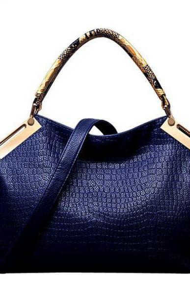 High Quality Luxurious Fashion Blue Crocodile Pattern Genuine PU Leather Bag