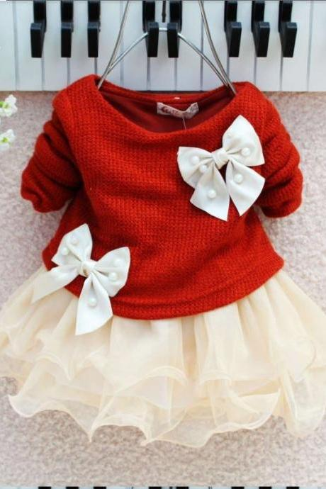 ON SALE! 0-3 Months Red Newborn Dress- Burgundy Bow Dress for Newborn and Infant Girls - Ready to Ship!