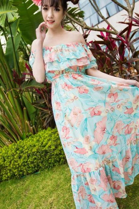 Chiffon Ruffle Strapless Tube Top Floral Print Women's Dress Two Ways Full Dress Beach Dress-Blue