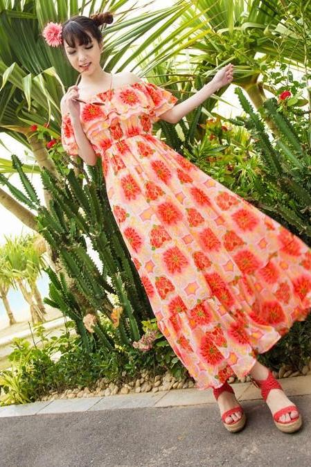 Chiffon Ruffle Strapless Tube Top Floral Print Women's Dress Two Ways Full Dress Beach Dress-Orange